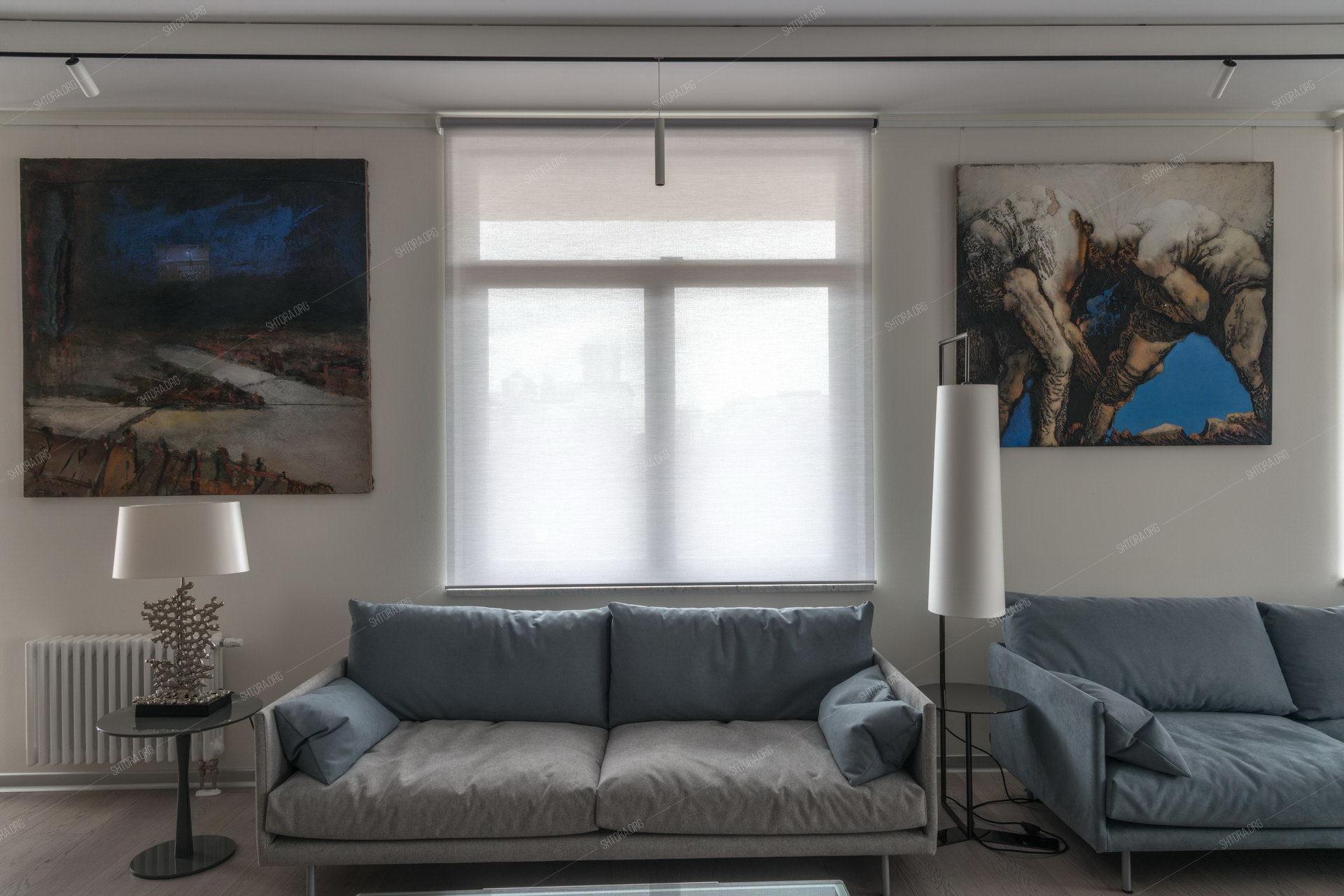 Текстильное оформление интерьера с электроуправляемыми системами для штор
