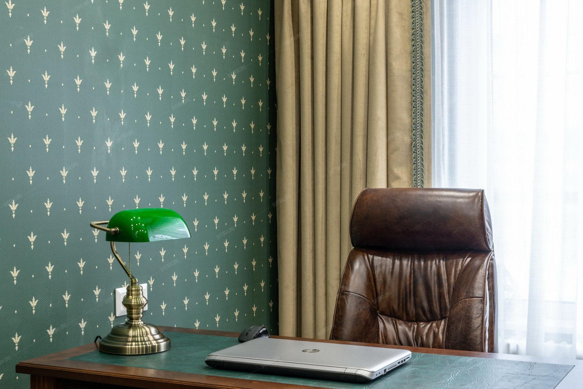 Бархатные шторы в мужской кабинет